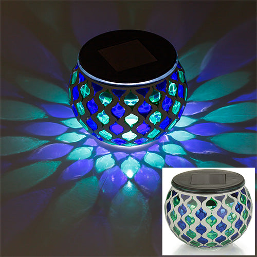 Blue and Green Mosaic Glass LED Outdoor Decor Decorative Table Light