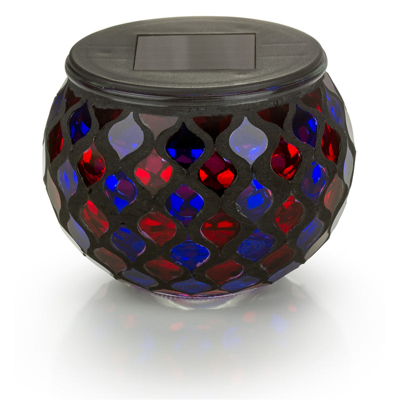 Red and Blue Mosaic Glass LED Outdoor Decor Decorative Table Light