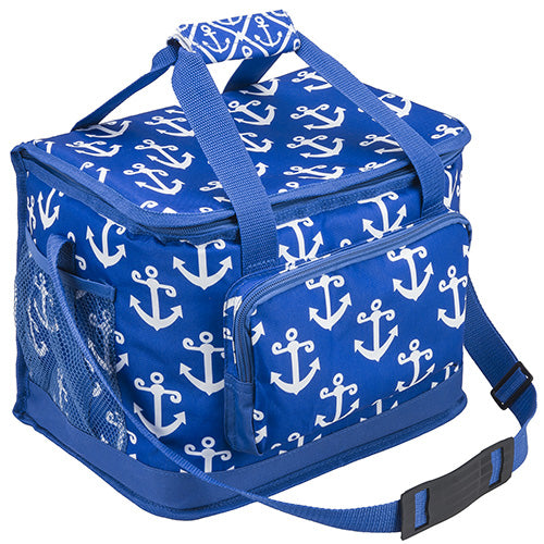 Anchor - Blue & White Insulated Collapsible Cooler Bag