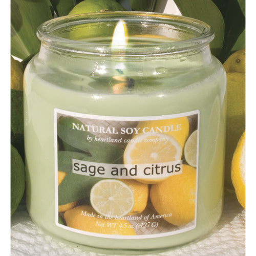 Sage and Citrus Scented Natural Soy Candle