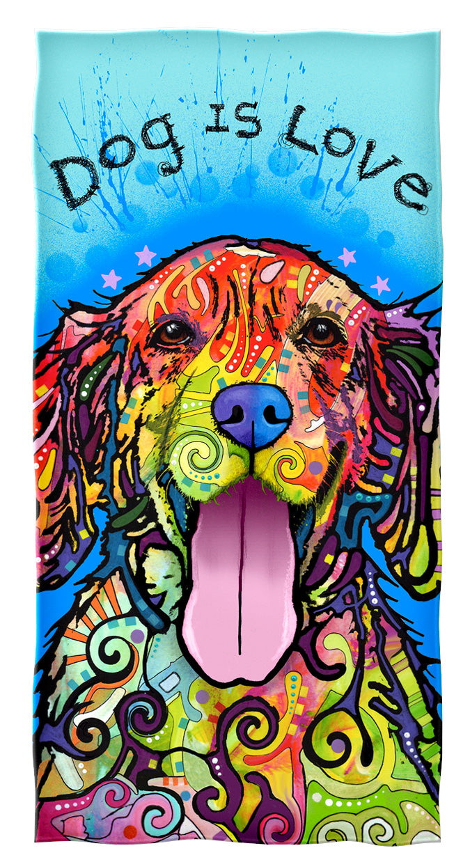 Dog is Love Beach and Shower Towel by Dean Russo