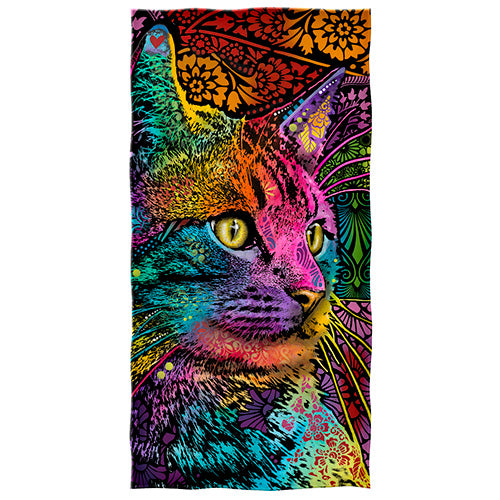 Mystery Gaze Cat Beach and Shower Towel by Dean Russo