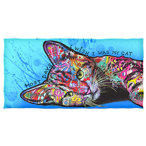 Wish I was my Cat Beach and Shower Towel by Dean Russo