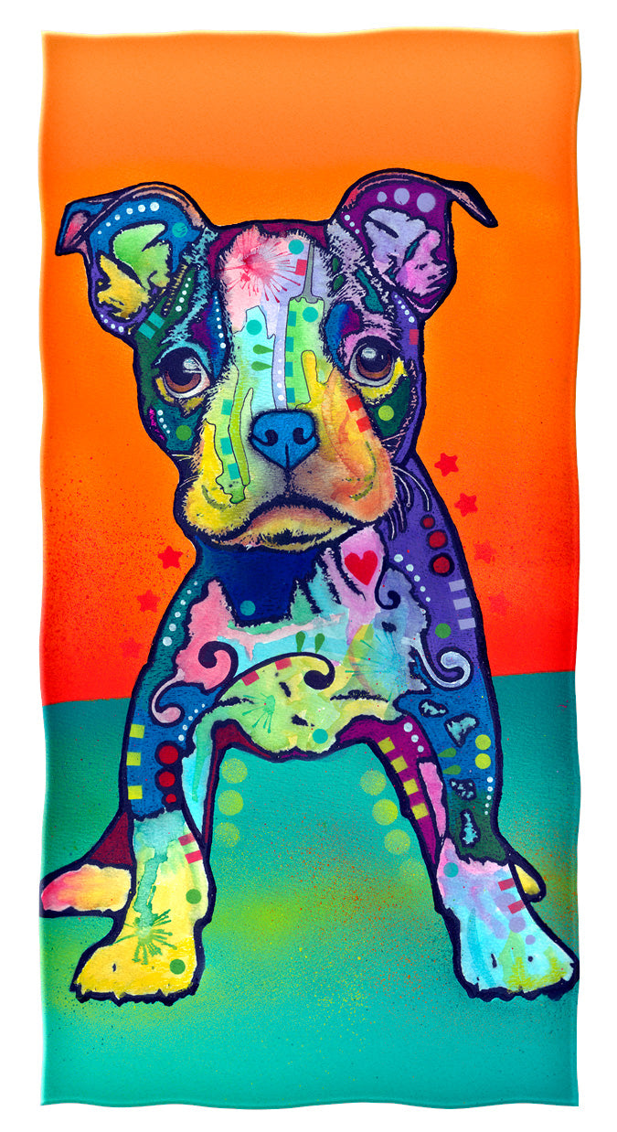 On My Own Puppy Beach and Shower Towel by Dean Russo