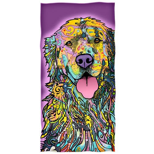 Golden Retriever Beach and Shower Towel by Dean Russo
