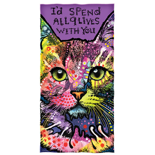 9 Lives Cat Beach and Shower Towel by Dean Russo