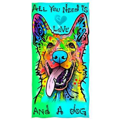 All You Need is Love and a Dog Beach and Shower Towel by Dean Russo