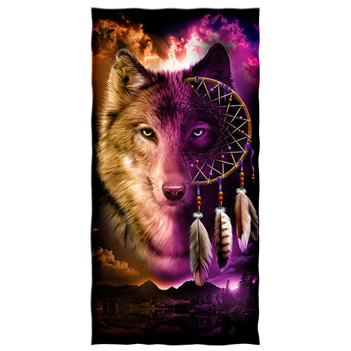 Wolf Dreamcatcher Beach and Shower Towel