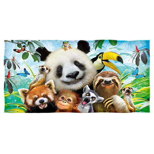 Zoo Animals Selfie Beach and Shower Towel