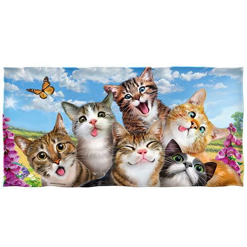 Cats Selfie Beach and Shower Towel