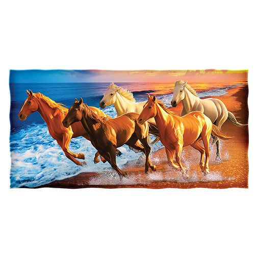 Horses on the Beach Super Soft Cotton Beach and Shower Towel