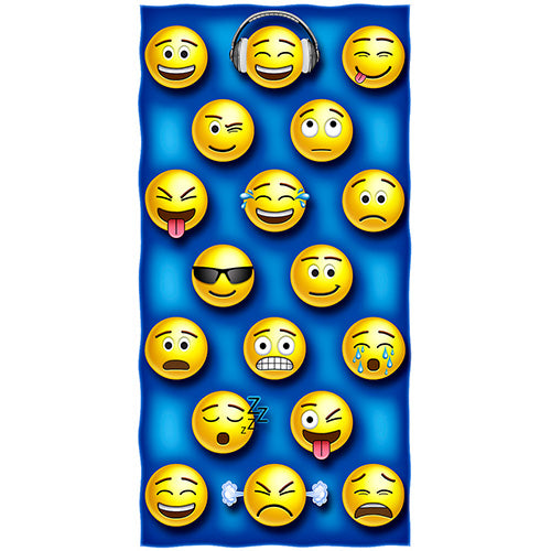 Emoticon Faces Beach and Shower Towel