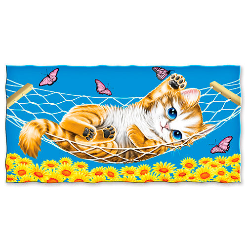 Kitten Cat Butterfly Beach and Shower Towel