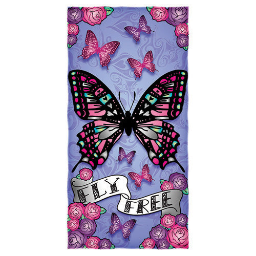 Fly Free Butterfly Beach and Shower Towel