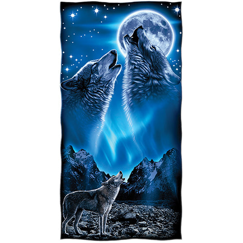 Wolves Howling Moon Beach and Shower Towel