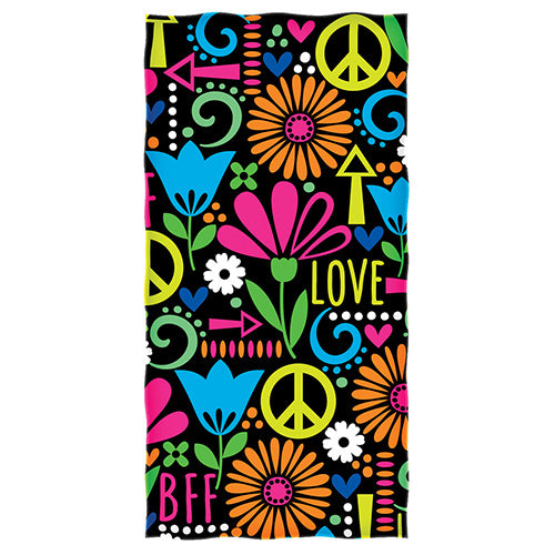 BFF Love Flower Beach and Shower Towel