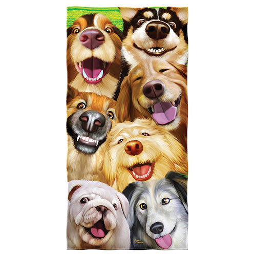 Dogs Selfie Beach and Shower Towel