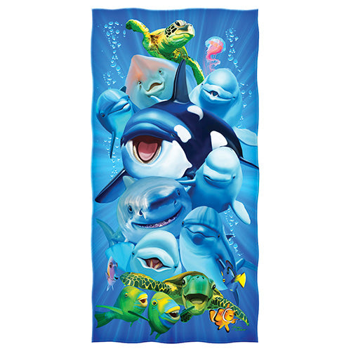 Aquatic Animals Selfie Beach and Shower Towel