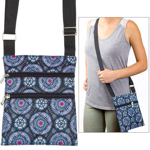 Medallions Flowers Quilted Cross Body Bag with Adjustable Strap
