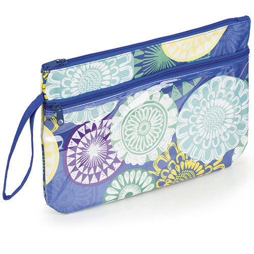 Floral Medallions Zipper Pouch Bag with Wrist Strap