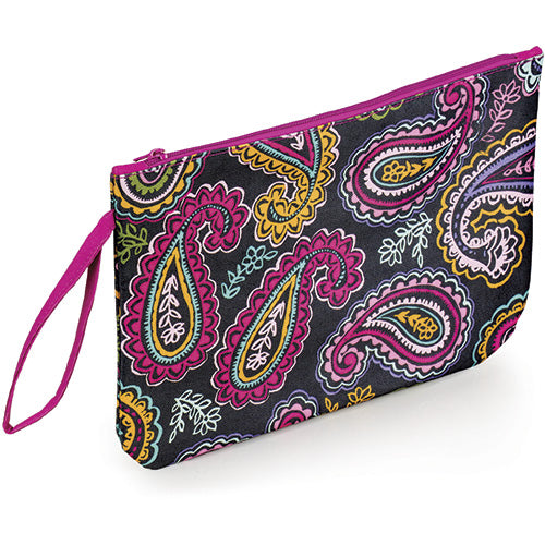 Paisley Zipper Pouch Bag with Wrist Strap