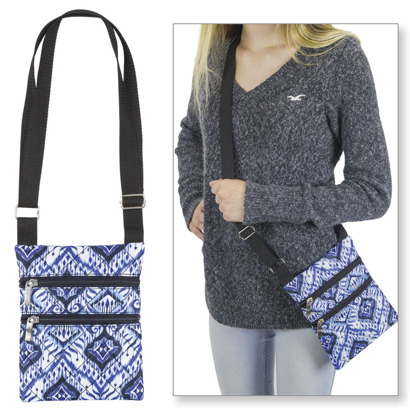 Blue & White Quilted Cross Body Bag with Adjustable Strap