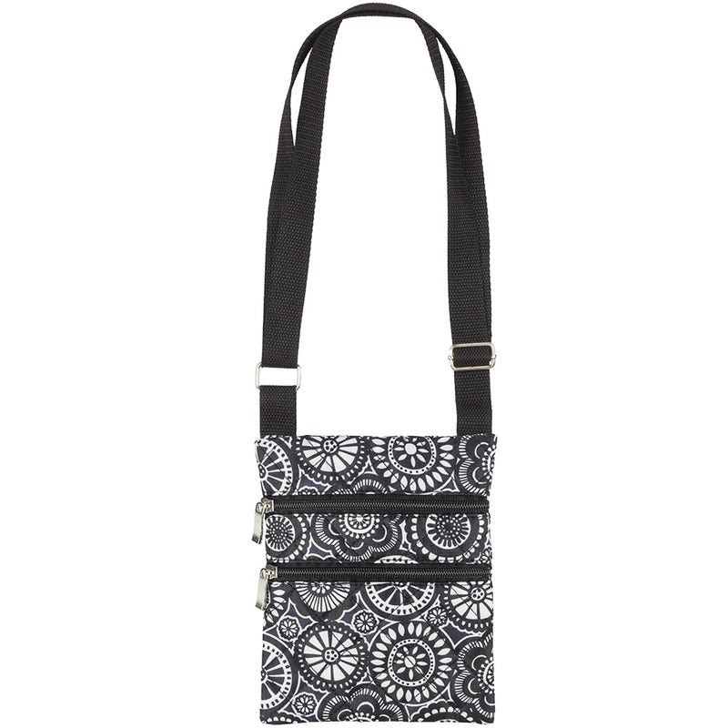 Black & White Medallion Flowers Quilted Cross Body Bag with Adjustable Strap