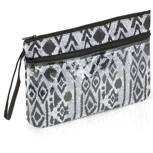 Black and White Zipper Pouch Bag with Wrist Strap