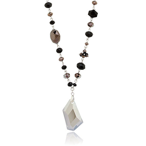 Black and Grey Crystals Pendant Necklace