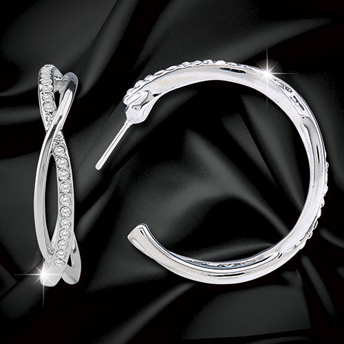 Swarovski® Crystal Spiral Hoop Earrings