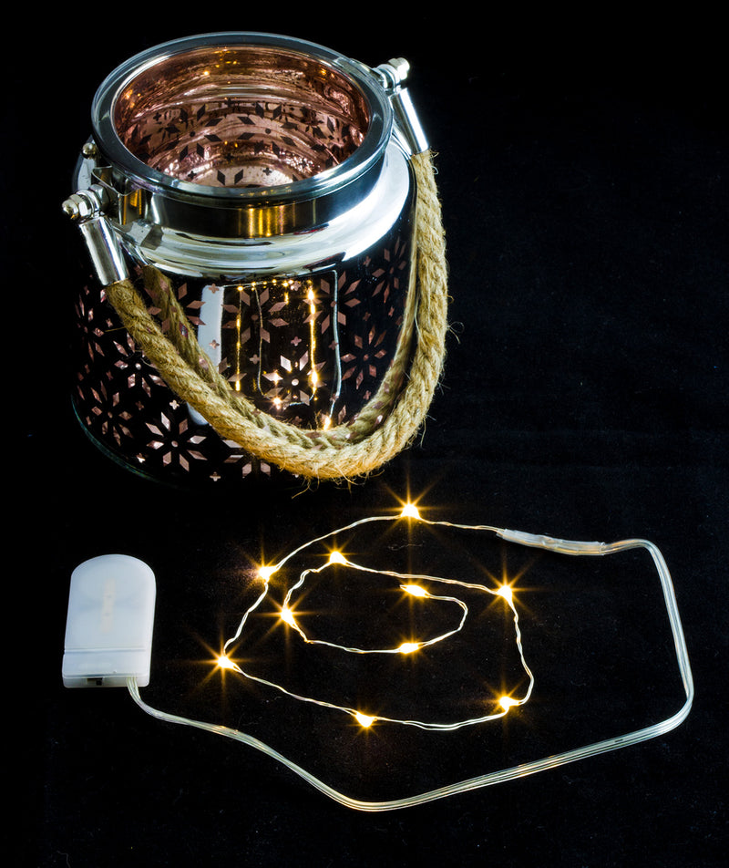 Decorative Hanging Glass Lantern with LED String Light