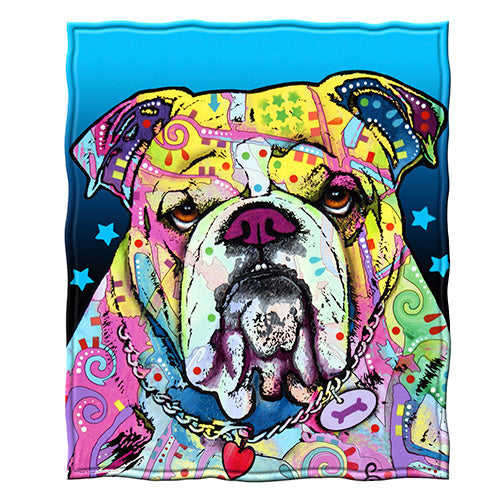 Bulldog Fleece Throw Blanket by Dean Russo