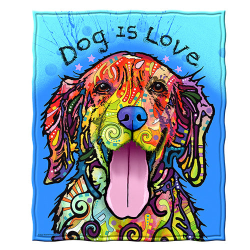 Dog is Love Fleece Throw Blanket by Dean Russo