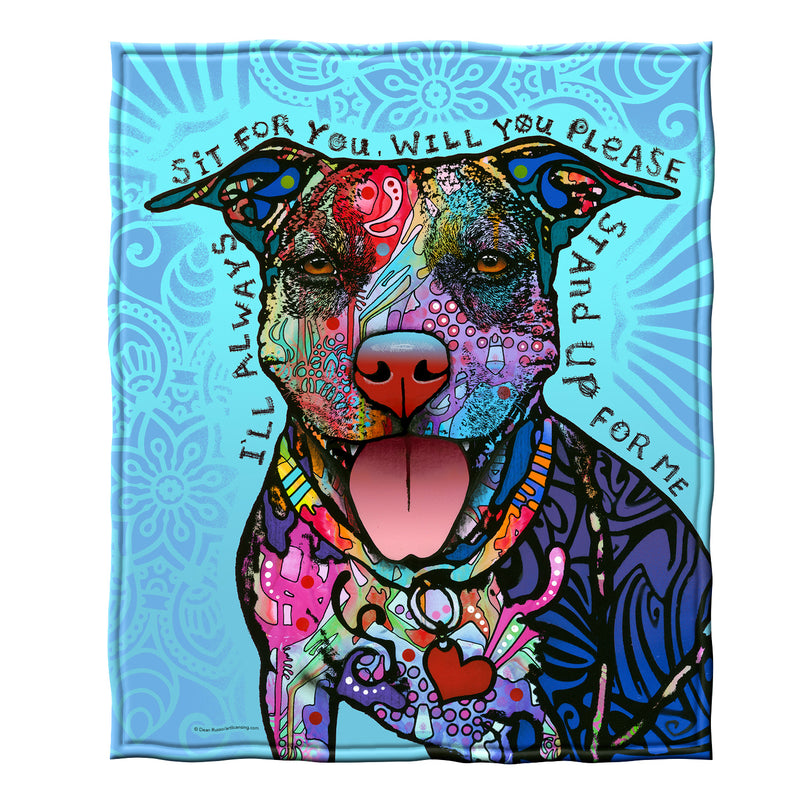 Stand Up for Me Pit Bull Fleece Throw Blanket by Dean Russo