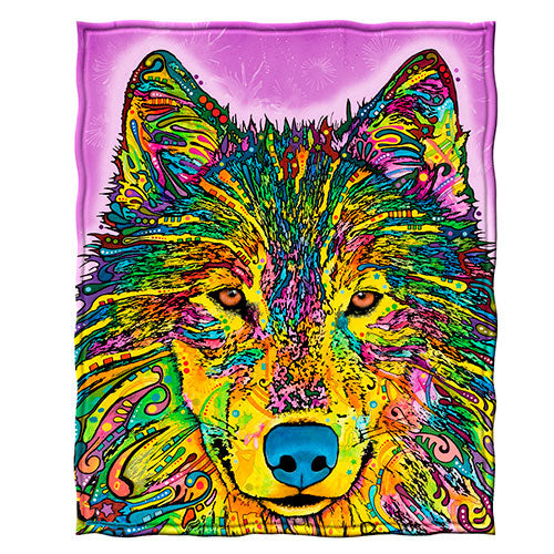 Wolf Fleece Throw Blanket by Dean Russo