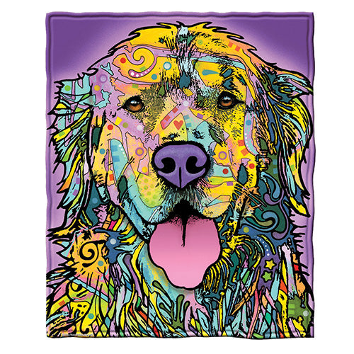 Golden Retriever Fleece Throw Blanket by Dean Russo