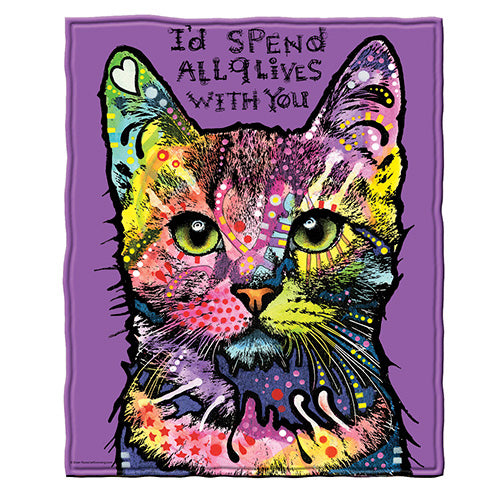 9 Lives Cat Fleece Throw Blanket by Dean Russo