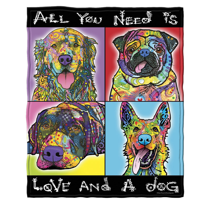 Love and a Dog Fleece Throw Blanket by Dean Russo
