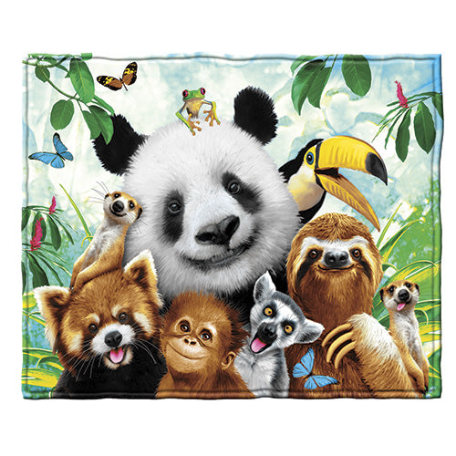 Zoo Animals Fleece Throw Blanket