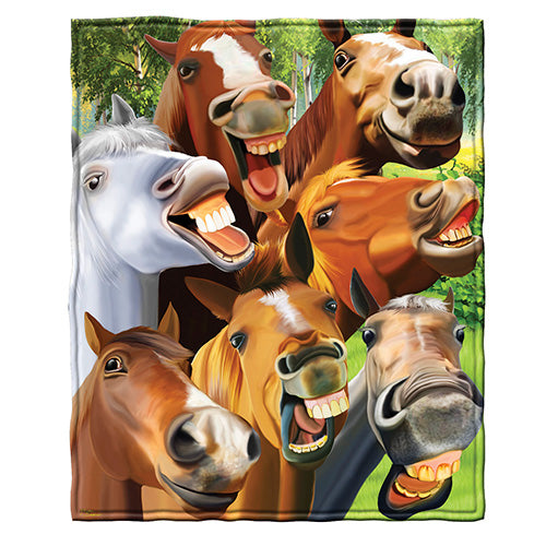 Horses Selfie Fleece Throw Blanket