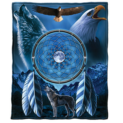 Wolf and Bald Eagle Dreamcatcher Fleece Throw Blanket