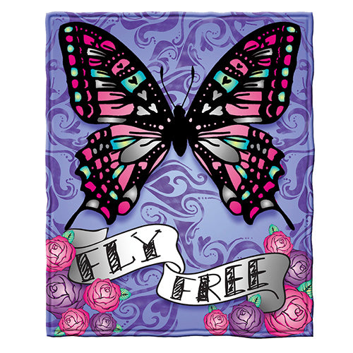 Butterfly Fly Free Fleece Throw Blanket