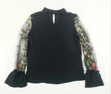 Load image into Gallery viewer, black blouse with sheer floral sleeves