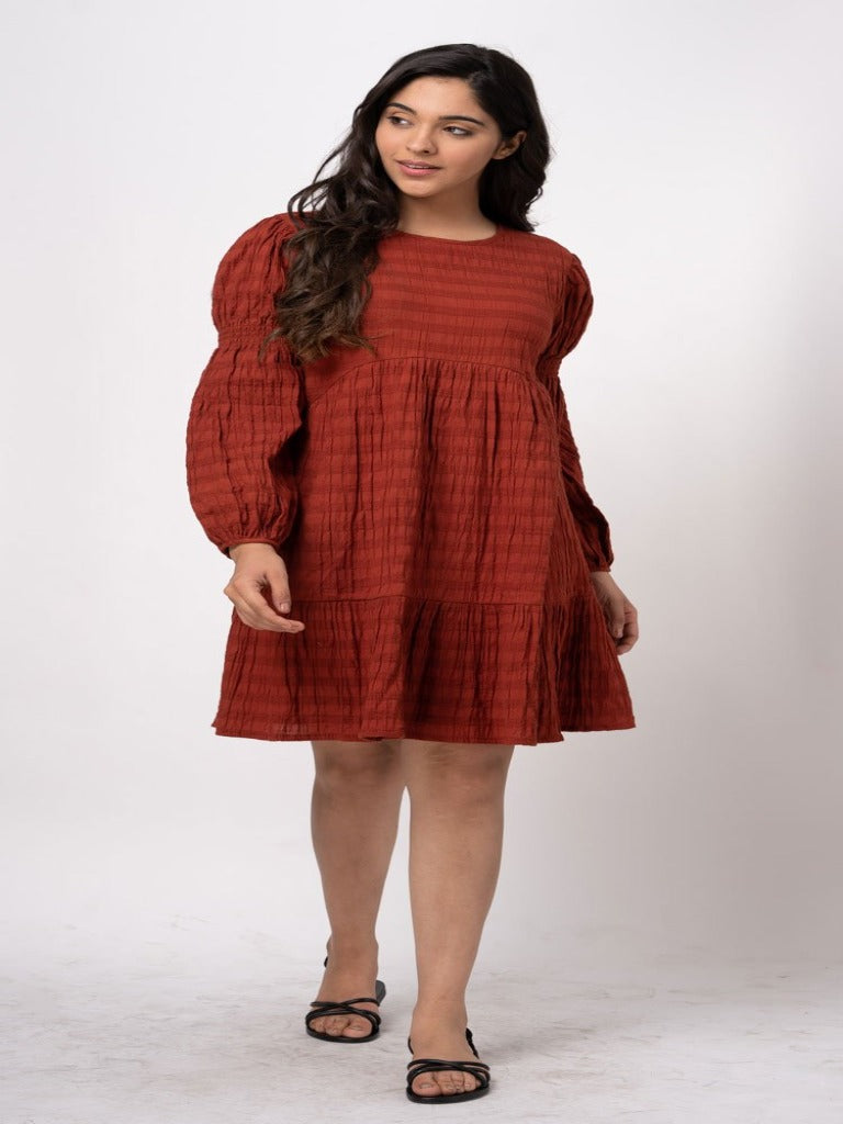 Joop&Gypsy Mellisa Smock Tiered Dress Rust