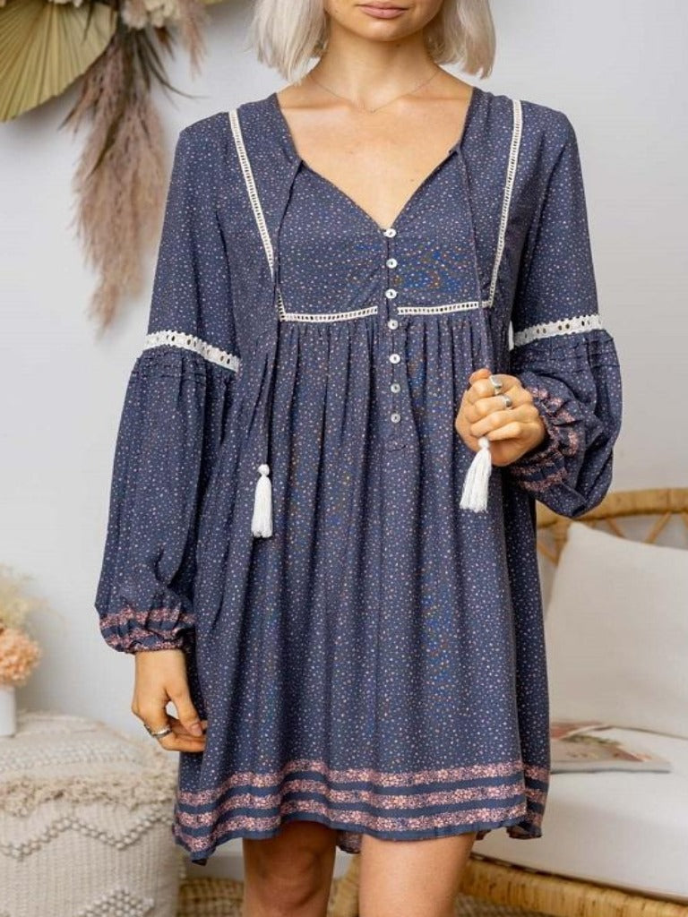 Iris Maxi | Spot Dream Dress Boho Blue