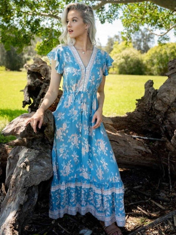 Iris Maxi Ava Boho blue and neutral Dress Front