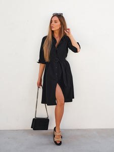 Donna Basic Lightweight Cotton Shirt Dress Black