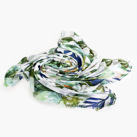 Soft green, navy and white tropical plant scarf in viscose with fringing