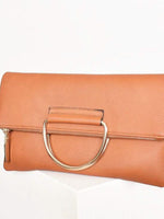 Tan vegan leather clutch gold round metal handle zip closure