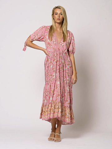 Aria Boho Pink Floral Maxi Dress Hi Low Hem